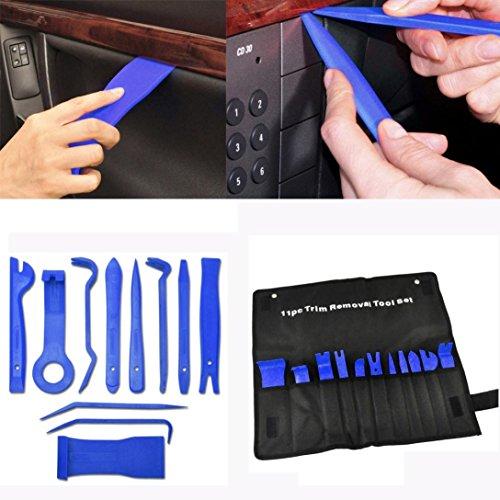 Tefamore Auto Trim Entferner Werkzeuge,Fahrzeug Innen 11 Stück Universal Automotive Trimmwerkzeug-Set Kit-Einsatz auf Türverkleidungen, Polster, Zierleisten, Leisten,Blau