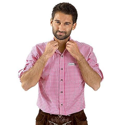 Almbock Trachten-Hemd Herren kariert | In den karo Farben rot, blau, hellblau, grün, beere, orange, türkis, schwarz-weiss, mehrfarbig | 100% Baumwolle (XL, Beere)