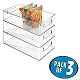 mDesign Juego de 3 bandejas de plástico para frigorífico o congelador – Amplias cajas de almacenaje con...