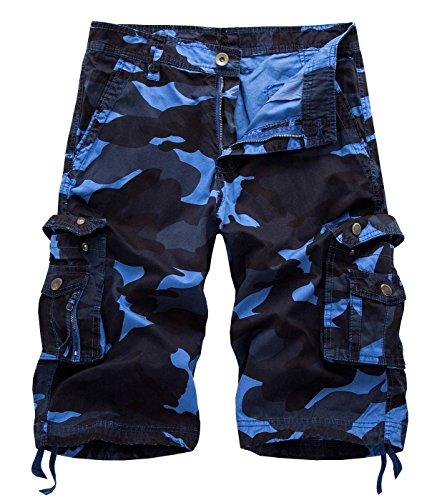 AIEOE Männer Vintage Camouflage Cargo Shorts Sommer Sport Kurze Hose Bermuda Loose-Fit Freizeit Hose Sporthose - Männer Camouflage