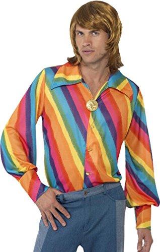 Halloween Erwachsene Herren 1970er Disco Fancy Kleid Stecker Rainbow Farbe Shirt (1970's Disco Kostüm)