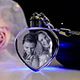 #6: Gondget Customized Gift 2D Crystal Heart Keychain with Light - Friendship Day Gift