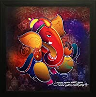 SAF 'Ganesha' Painting (Wood, 12 inch x 12 inch, Special Effect Textured, SAO97)