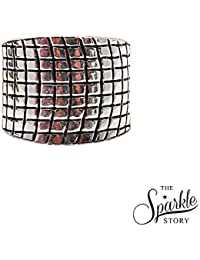 The Sparkle Story Black Oxidized Geometric Sterling Silver Adjustable Ring For Women & Girls (DSS-12005)