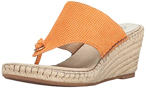 Johnston & Murphy Women's Ainsley Thong Wedge Sandal, Orange/White, 9 M US