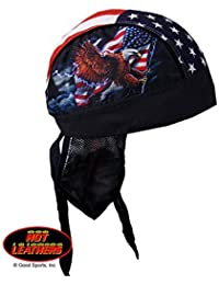 Hot Leathers Authentic Bikers Premium Headwraps, FLAG & EAGLE - High Quality Micro-Fiber & Mesh Lining HEADWRAP