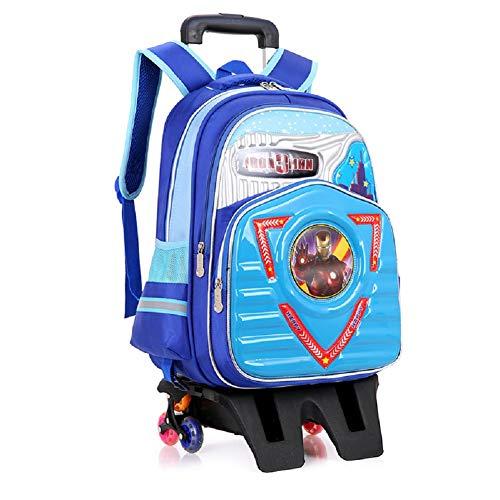 Kinder Trolley Bag neue Schüler drei Runden Treppensteigen Reduktion Tasche wasserdichtem Nylon Student Rucksack Kinder Reisetasche Wandern Umhängetasche Gürtel-C-6rounds -