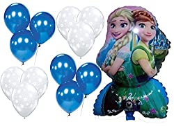 BIRTHDAY PARTY Decoration Balloon Combo 3 - Foil , Blue & Snowflake Printed Latex transparent Balloons