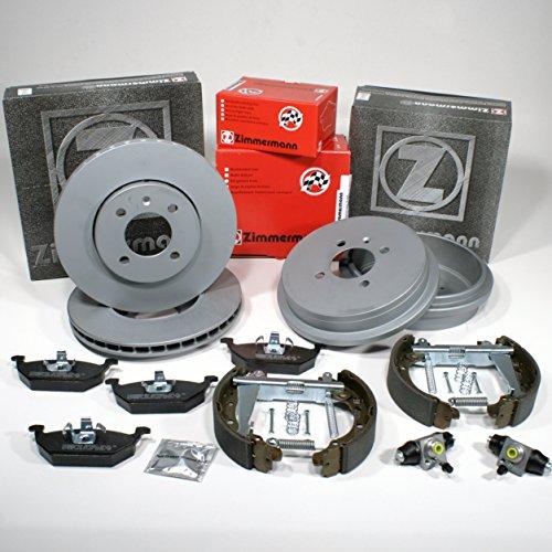 Zimmermann Disco pr-n 1LA, 1ZQ Coat Z/freno + Pastiglie freno anteriore + tamburo freno + ganasce freno Kit Z per la parte posteriore