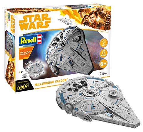 Revell- Star Wars Solo Build & Play Millennium Falcon, con Luces y Sonidos, Escala 1:164 (6767)(06767), 23,5 cm de Largo (