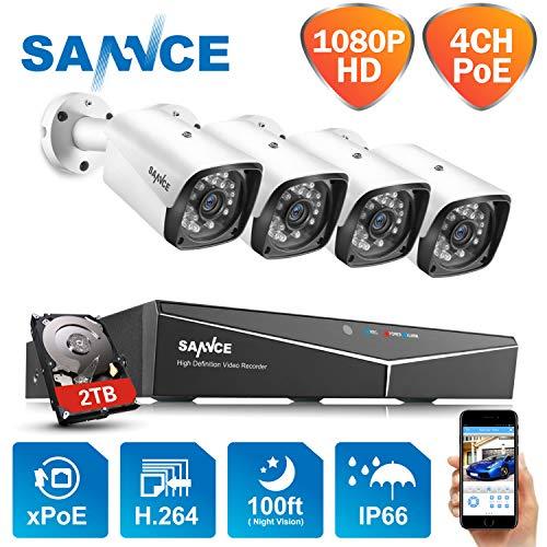 SANNCE 1080P 4CH POE Überwachungskamera Set, CCTV Videoüberwachung System mit drahtlosen 4X 2.0MP 1080P IP Kameras für Haus Innen Außen Bereich mit Nachtsicht-Funktion, 2TB Festplatte und Fernzugriff