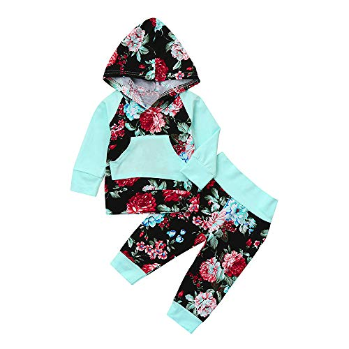 borene Babymode Hoodie Langarm Mädchenbekleidung Jungenbekleidung Baby Boy Girl Floral Print Hoodie Tops + Hosen Outfit Kleidung Set Felicove ()