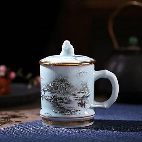 Céramique céladonPorte-gobeletsTassesAccueil CupTasse de bureauPorte-gobeletsUn bol d'eau,Encre-ching1