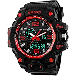 Unitedeal Brand Men's Waterproof Dual Time Chronograph Multi Functional Outdoor Sports Rubber Wrist Watch Red