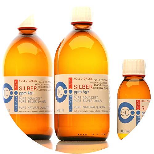 PureSilverH2O 1100ml Kolloidales Silber (2X 500ml/10ppm) + Flasche (100ml/50ppm) Reinheit & Qualität seit 2012 preisvergleich
