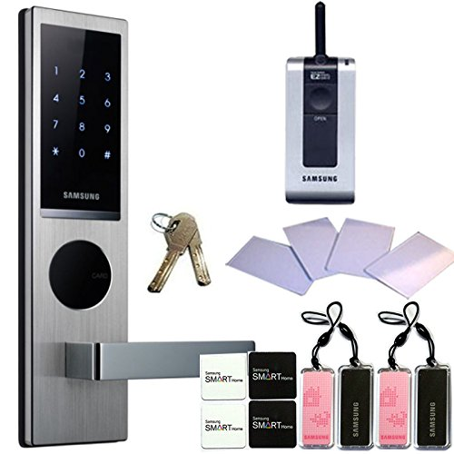 SAMSUNG SHS-H630 New version of SAMSUNG SHS-6020 digital door lock keyless touchpad security EZON + 4pcs of RFID Cards + 4pcs of Key Tags + 4pcs of Sticky Key Tags + 2pcs of Emergency keys + Remote by Samsung (Card Access Door Lock)