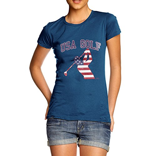 TWISTED ENVY Damen T-Shirt USA Golf Print X-Large Königsblau (Shirt Distressed Golf)