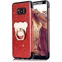 Rot Strass Hülle für Galaxy S8 Plus,Glitzer Silikon Hülle für Galaxy S8 Plus,Moiky Luxus Mode Mädchen Frauen Niedlich 3D Bär 360 Grad Ständer Ring Halter Weich TPU Soft Gummi Hülle