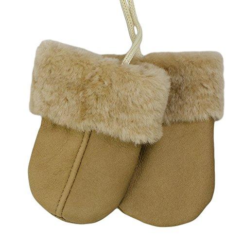 SamWo, Babyhandschuhe aus echtem Lammfell, kuschelig warmes Naturprodukt, für Kinder von 0 - 1 1/2 Jahren, Farbe: braun/natur