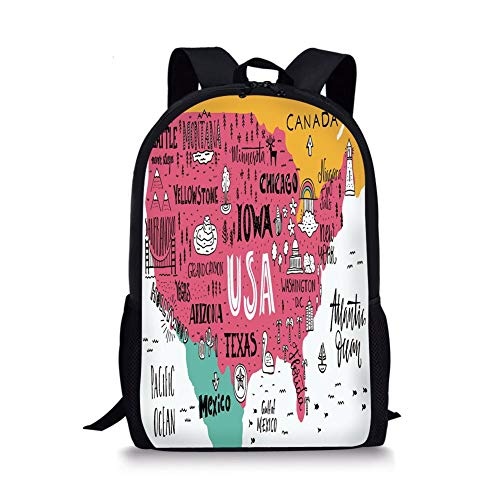 Arizona Girls Top (School Bags USA Map,American Cities Calligraphy on Plan Arizona York Chicago Cartoon,Pink Marigold Teal White for Boys&Girls Mens Sport Daypack)