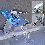 Auralum® Elegante LED RGB rubinetto miscelatore di vetro del rubinetto del bacino rubinetto lavabo gabinetto per i lavelli cucine da bagno