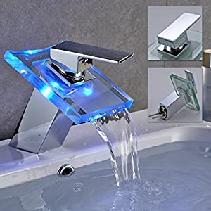 Auralum® Grifo Mezclador Para Lavabo LED Waterfall Basin Tres Colores Muestran La Temperatura Del Agua Grifo De Cobre…