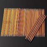 Bureze 55 Ferri da Maglia a Doppia Punta in bambù carbonizzato, per Cappelli, Maglioni, Sciarpe, uncinetti