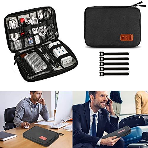 Elektronik Organizer, Muscccm Reise Kabeltasche Kopfhörer Tasche für Handy Mini iPad, USB Cable Power Banks Festplatte,stifte mit 5 Kabelbindern, Schwarz