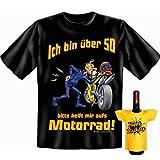 Geschenk Set GoodmanDesign zum 50. Geburtstag T-Shirt …helft mir aufs Motorrad! und HAPPY BIRTHDAY Flaschenshirt Gr: XL in schwarz : )