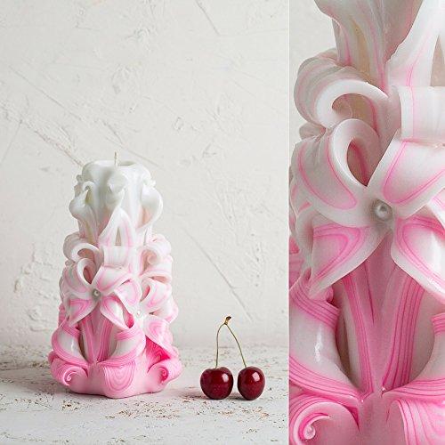 Hochzeits-Mittelstücke - geschnitzte Kerze - mittel weiß und rosa - sanfte Farben - EveCandles