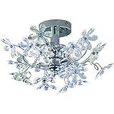 Reality Leuchten R20012017 - Applique da parete/plafoniera con motivo floreale multicolore e trasparente, 2 lampadine E14 da max. 40 W non incluse, diametro: 38 cm, finitura cromata