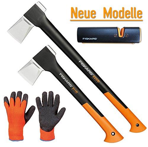 Preisvergleich Produktbild FISKARS© Set Spaltaxt X25 - XL + X11 - S + Xsharp Axt- und Messerschärfer + Handschuhe