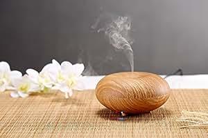 Lagute Bois Serie Aromatherapie Huile Essentielle Diffuseur Ioniseur humidificateur d'Air, Bois de Modele de Grain, Super Fine et Douce Brume Version