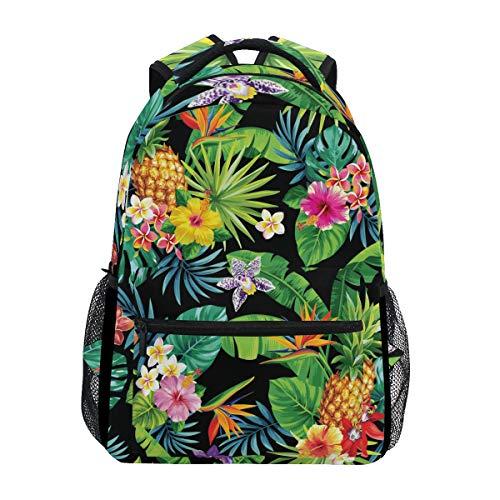 Pineapple Rucksack mit tropischen Palmen, wasserfest, Schulranzenbeutel, Gymrucksack, Blumen-Motiv, Laptop-Tasche, Outdoor, Reisetasche für Kinder, Jungen, Mädchen, Damen, Herren