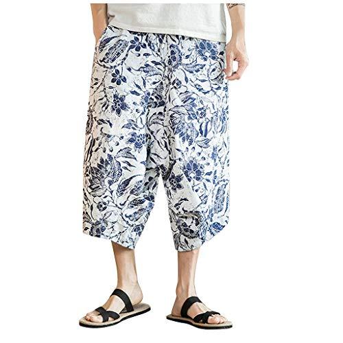 LILICAT Uomo Pantaloncini E Calzoncini da Bagno Hawaiana Spiaggia Mare Piscina Uomini Tronchi per La di Costume con Stampa Corti Shorts Pantaloni Tagliati Larghi in Lino Stile Cinese(Bianca,2XL)