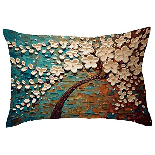 Indexp Rectangle Tree Pattern Printing Throw Cushion Cover Sofa Home Decoration Pillow case (Style Q)