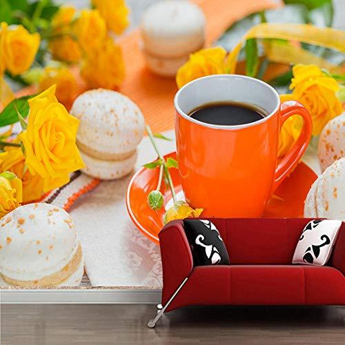 Fototapete 3D Wallpaper Coffee Roses Cup Macaron Wandbilder Für Wohnzimmer Küche Zimmer Hintergrund Dekorative Tapete,250Cmx175Cm Rose Cup