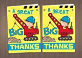 20 Mixed Boys Childrens Thank You Cards - Digger, Fire Engine, Crane Driver, Racing Driver, Monster Truck