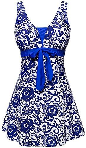 EmilyLe Women's Floral Print Bathing Suit Tankini Top Swim Dress With Short Swimming Costume