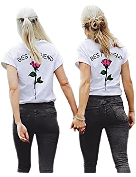 Minetom Mujeres Best Friend Camiseta Manga Corta Impresión Mejor Amiga Blusa Túnica Verano Camisa Divertidas T-Shirt...