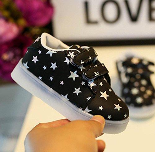 Covermason Kinder Baby LED Schuhe Sneakers Krippenschuhe Sportschuhe Schwarz