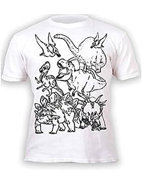 Splat Planet Camiseta DINOS, dinosaurios para niños y niñas. Con impresión para pintar y colorear. Incluye 6 colores...