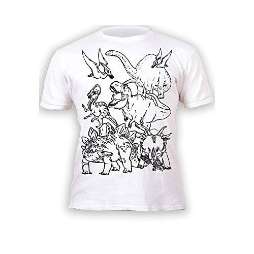Kinder T-Shirt Jungen Mädchen Dinos Dinosaurier. Zum Bemalen und Ausmalen mit Vordruck. Mitgeliefert 6 auswaschbare Magic - Malstifte. Kindergeburtstag 7-8 Jahre