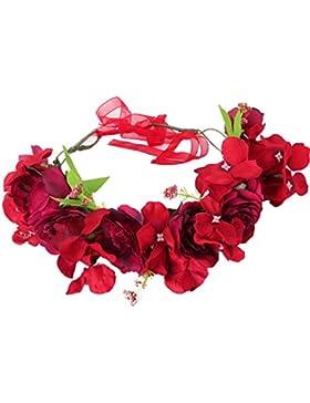 YAZILIND boda de flores de novia corona de Dama de honor rosa floral guirnalda de playa tocado foto apoyos para...