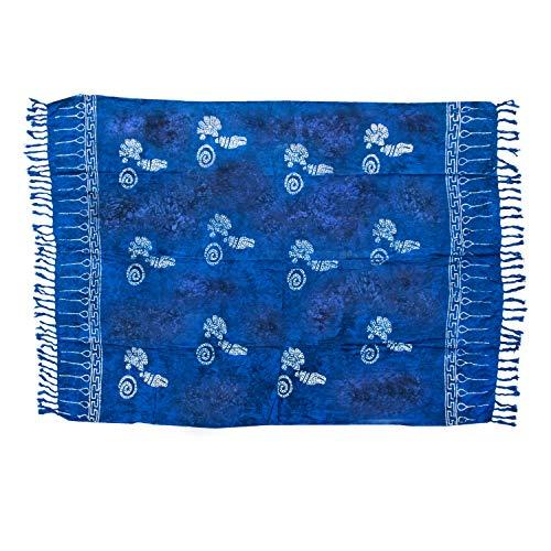 MANUMAR Damen Pareo blickdicht, Sarong Strandtuch in royal blau schwarz mit Muschel Motiv, 155x115cm, Handtuch Sommer Kleid im Hippie Look, für Sauna Hamam Lunghi Bikini