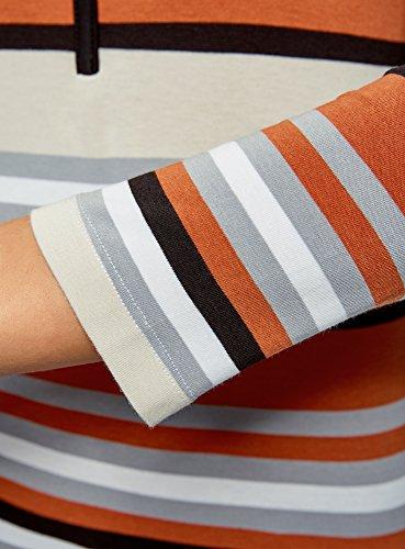 oodji Ultra Damen Henley T-Shirt Gestreift mit 3/4 Arm Grau (2359S)