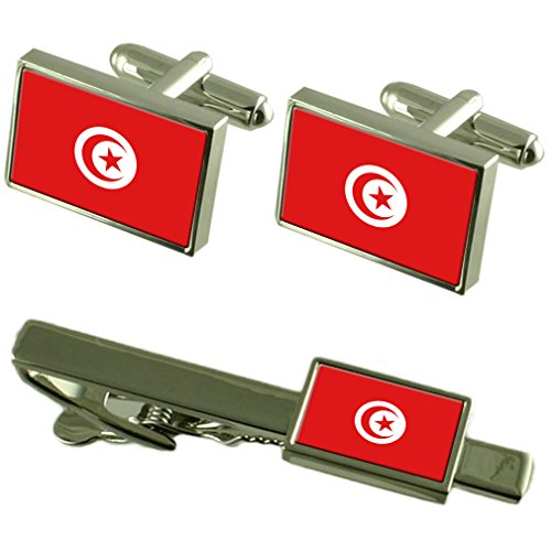 Túnez Pabellón gemelos Clip de corbata Matching Box Set de regalo