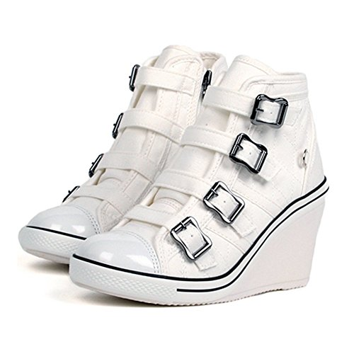 Compensées Baskets Heels Platform Sneakers High Top Bottines Chaussures Holly Band MADE IN KOREA white