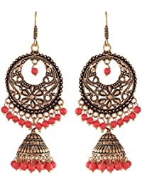Ganapathy Gems Ethnic Antique Oxidised Red Brass Dangle & Drop Earrings For Women & Girls(10208_GPJ) 10208_GPJ