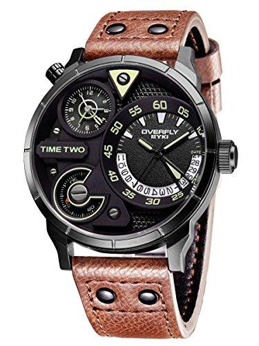 Alienwork Quarz Armbanduhr sport Uhr Herren Uhren Multi Zeitzonen Design Polyurethan schwarz braun YH.E3065L-03
